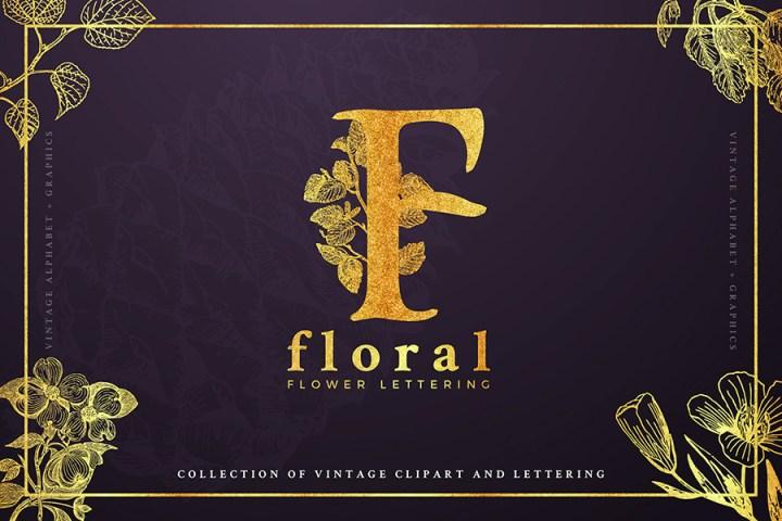 Free Vintage Floral Letters