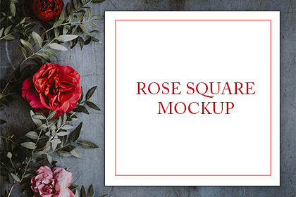 Square Card Roses Mockup