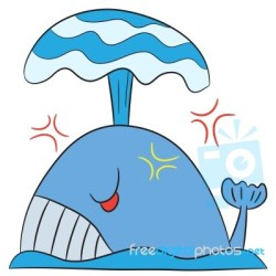 whale angry cartoon character