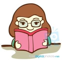 Cute Girl Reading Book Cartoon Illustration Stock Image Royalty Free Image ID 100148031