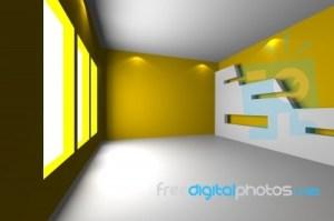 Empty Yellow Room Background 9