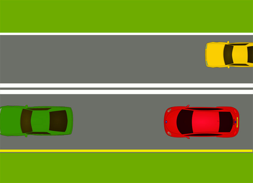 What does a double solid white line between travel lanes mean?