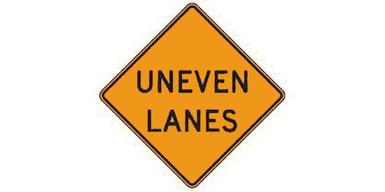 Free DMV Test - Uneven Lanes sign