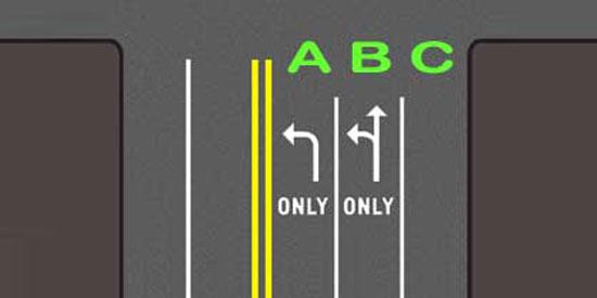 White turn lane arrows