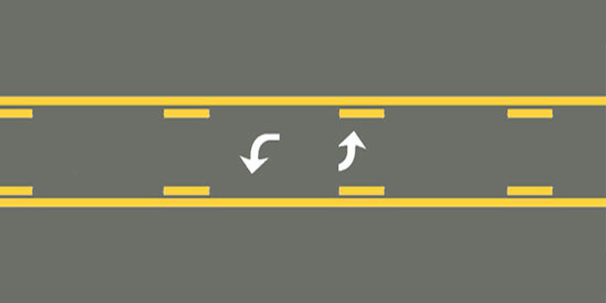Two-way left-turn lane - FreeDMVTest.info