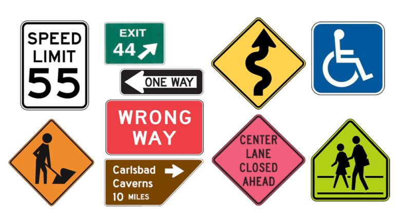 Basic road sign colors in United States