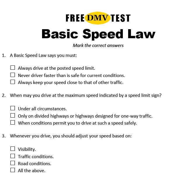 Basic Speed Law - Work Sheet with Questions