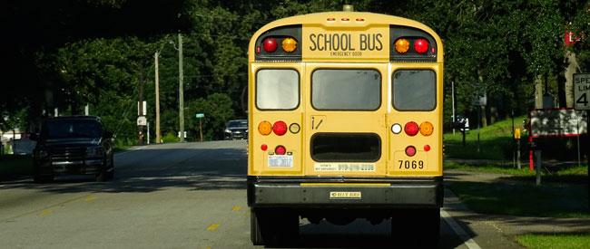 A stopped school bus - xzelenz Media for FreeDMVTest