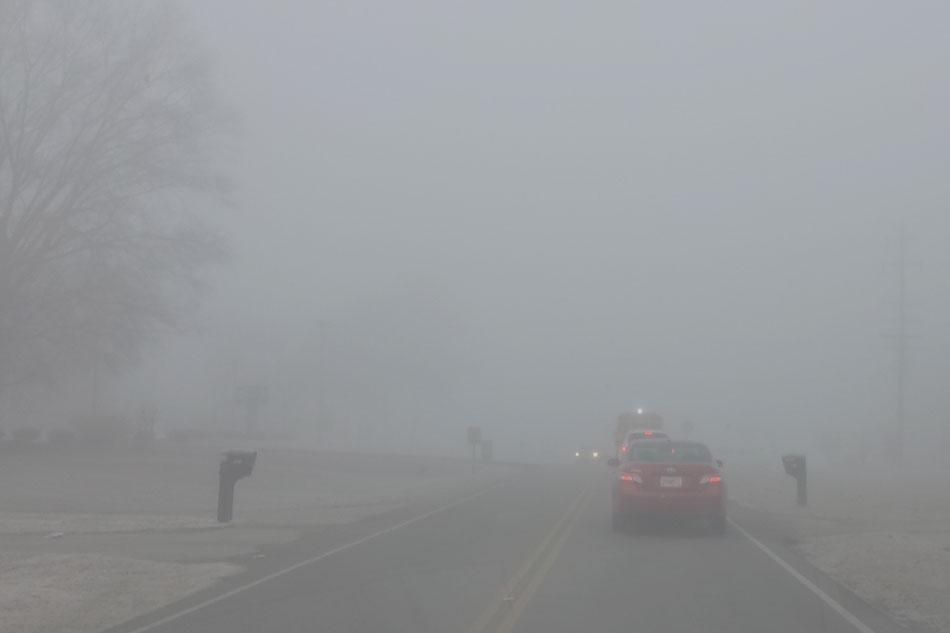 Use low beam headlights in fog