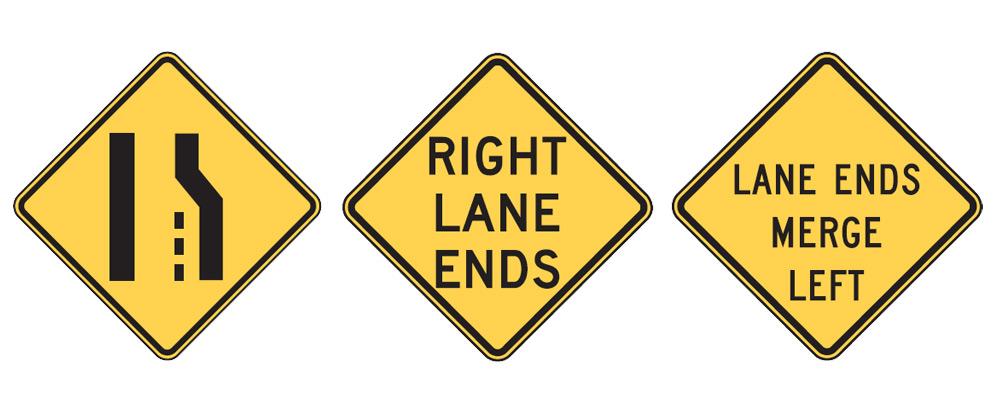 Lane Ends Signs - W4-2, W9-1, W9-2