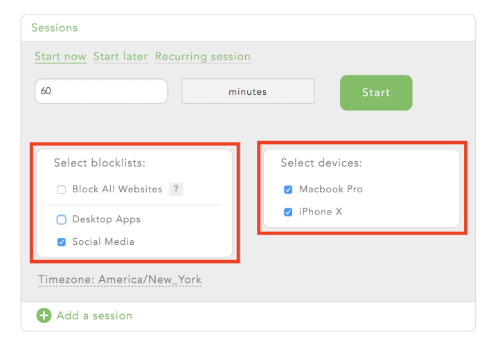 Select when you want your block to start and how long it lasts