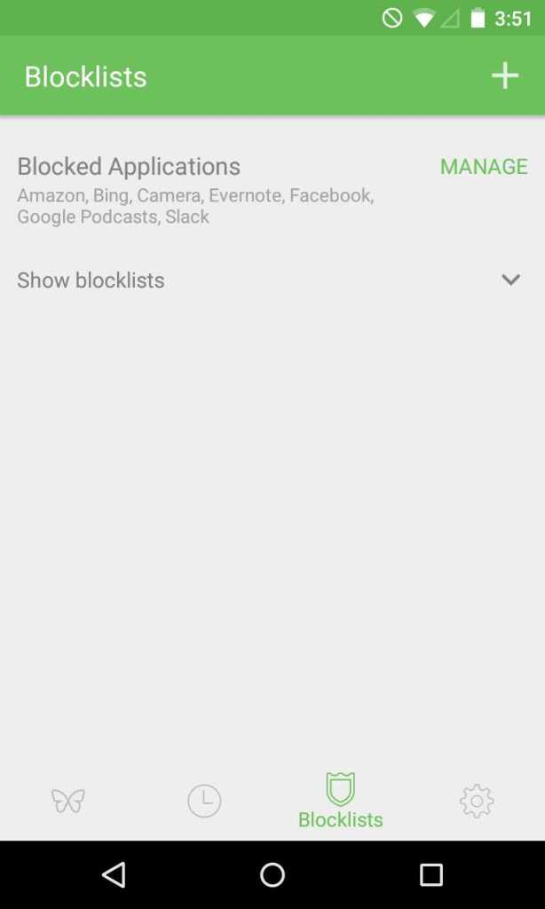 Open the Freedom app and then click the Blocklists tab. Next tap 'Manage' next to 'Blocked Applications.'