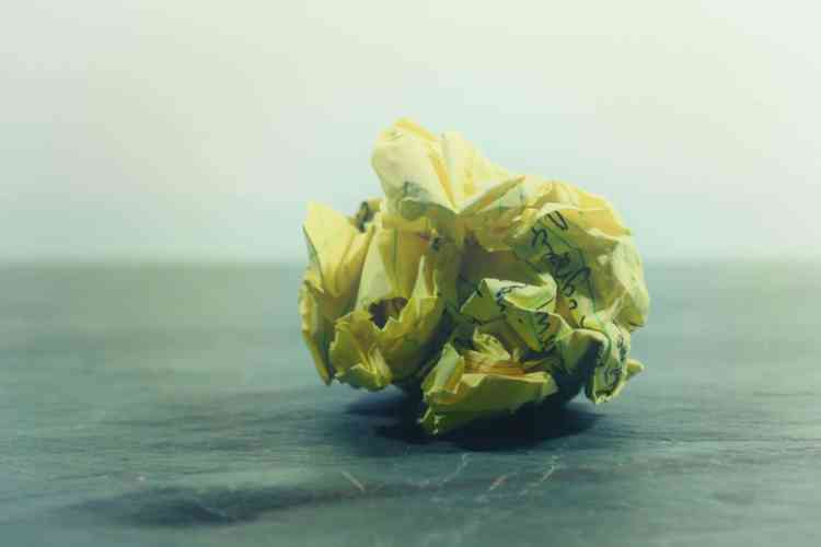 Save your distraction list for later - paper ball crumpled up