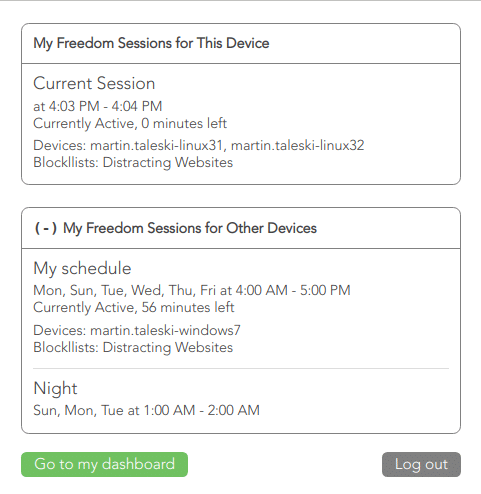 View your Freedom block sessions on Chrome and Linux