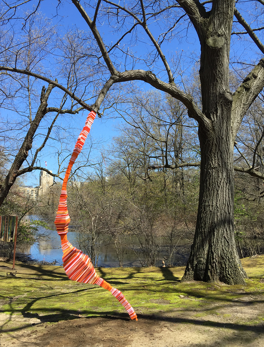 Tree to Ground, 2016. Freedom Baird. Coroplast, PVC, styrofoam, steel. Riverway Park, Boston, MA. Gateways exhibition, Studios Without Walls