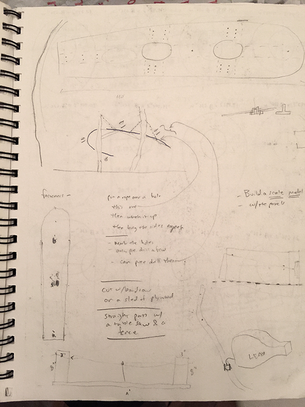 Installation planning and sketches for Two Oaks Spanner, 2015. Freedom Baird