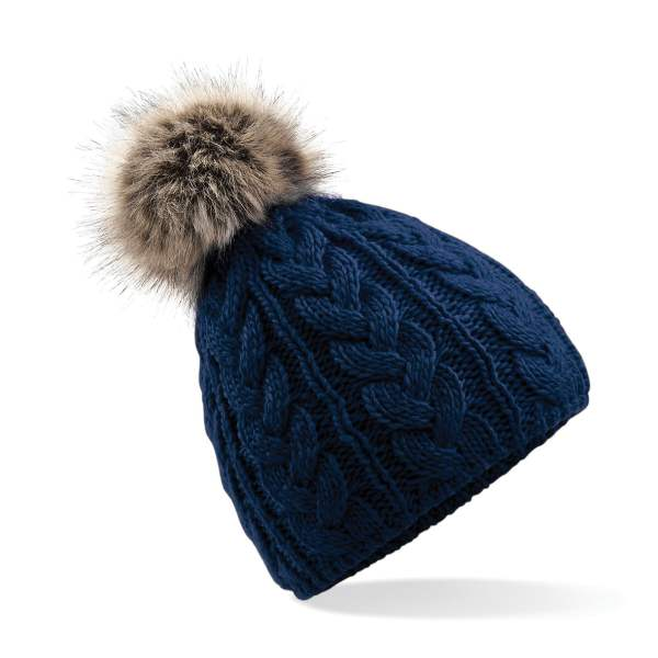 Freedom Embroidery Cable Knit Pom Hat