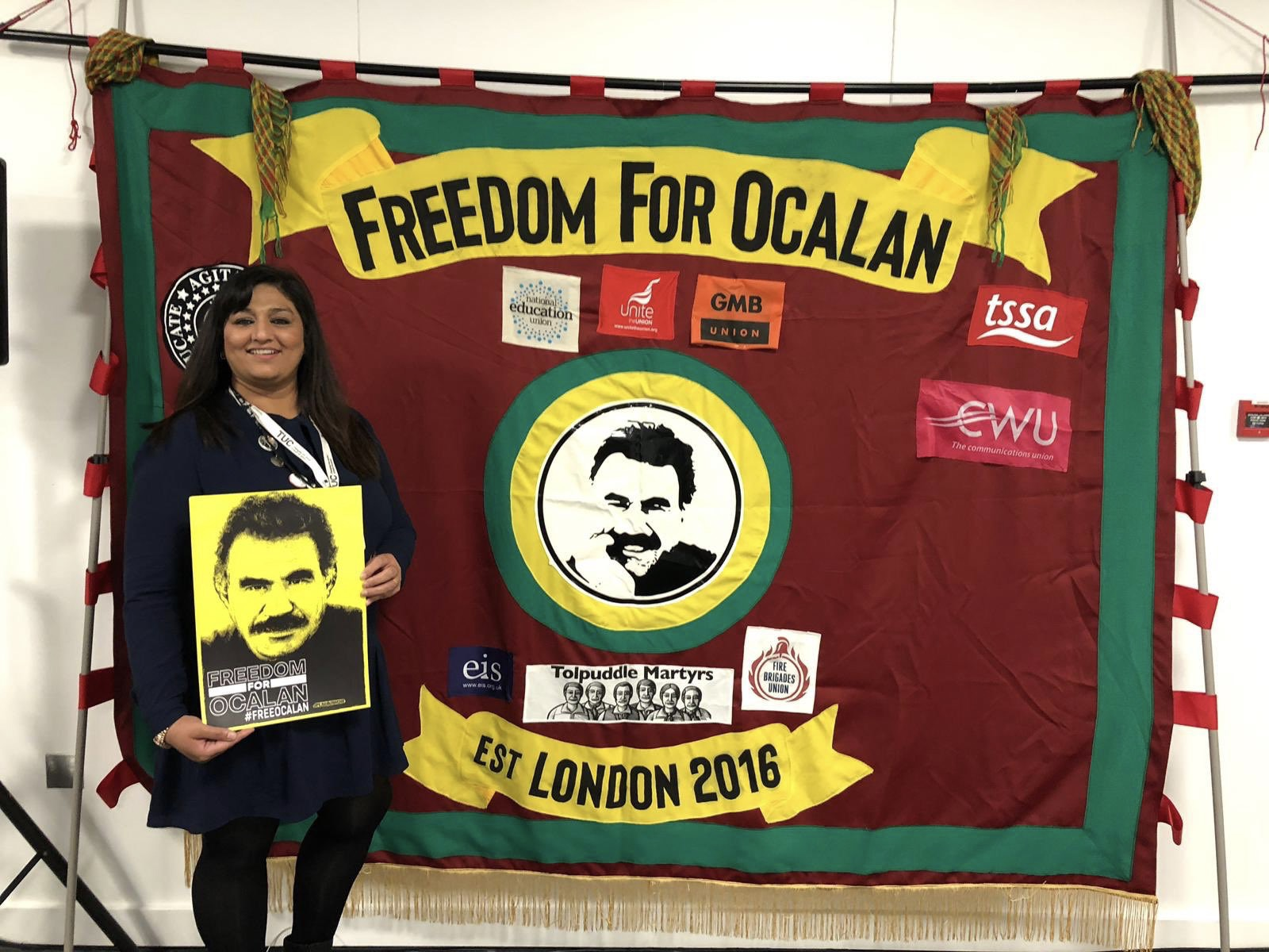 Neelam Verma executive councikl member Unite the Union at TUC congress 2019 Freedom for Ocalan