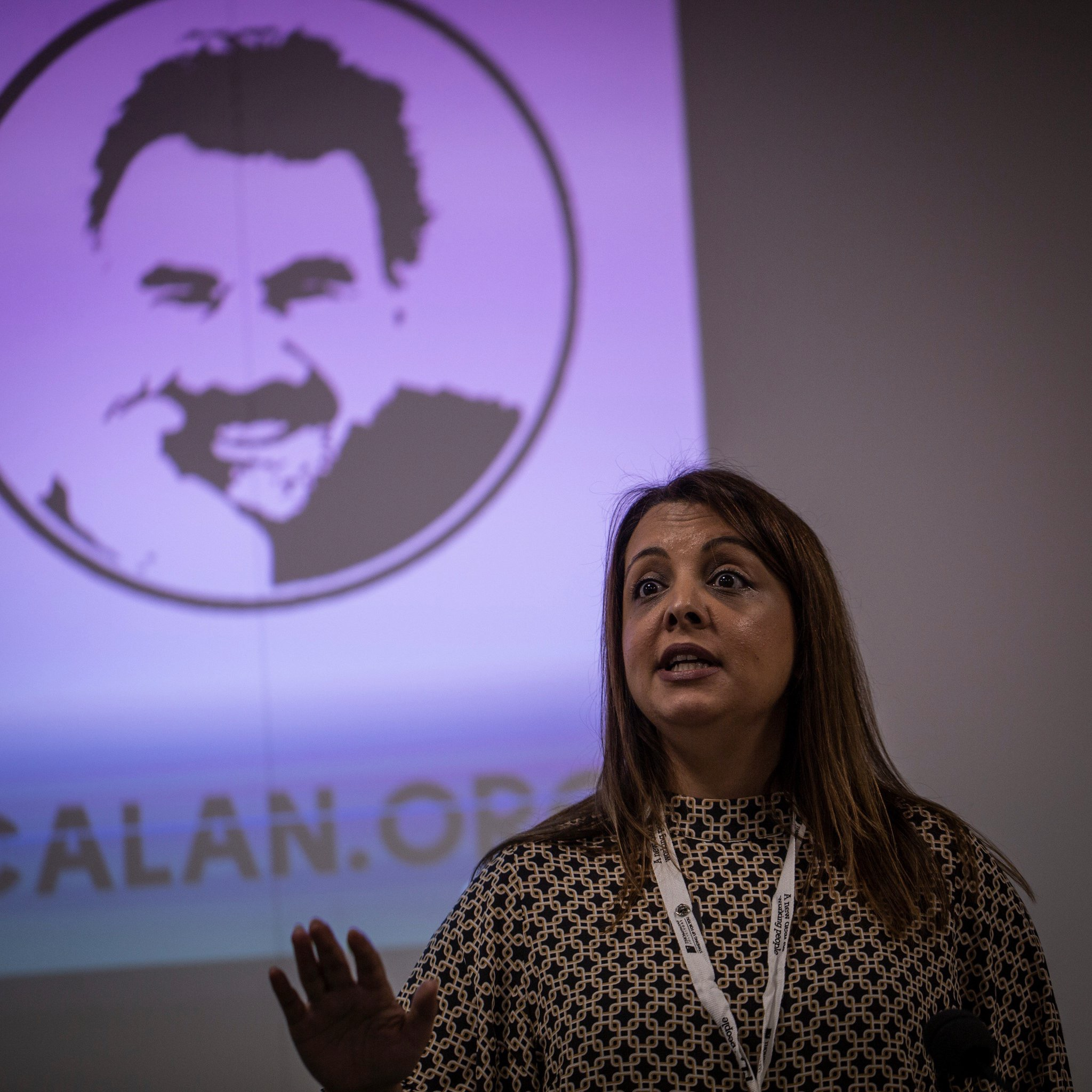 "Shavanah Taj Secretary for Wales & National Officer for South West at PCS Trade Union speaking at ""The battle for Turkey's future"" fringe at TUC 2019 Freedom for Ocalan - - image by Stephen J Russell"