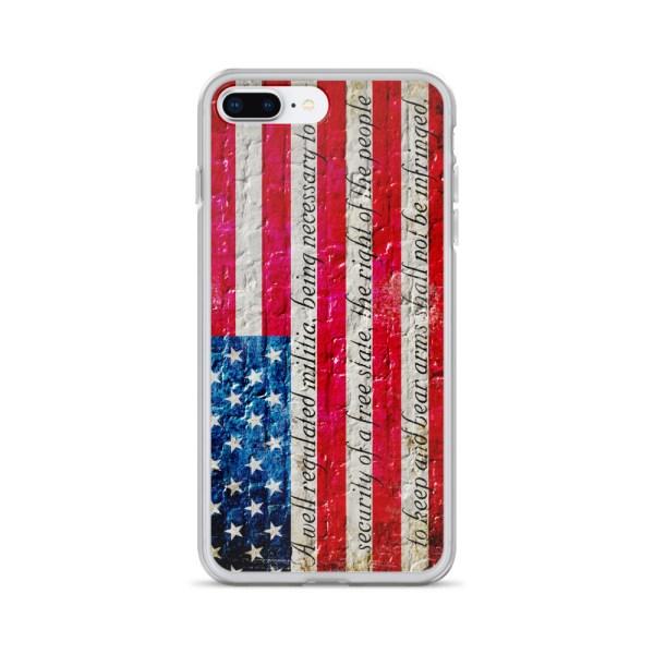 iPhone 7/8 Plus Case – American Flag & 2nd Amendment on Brick Wall Print