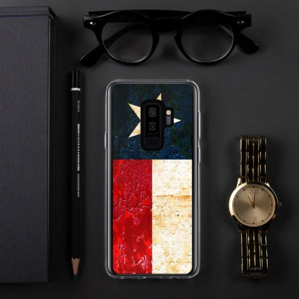 Samsung Galaxy S9 Case Texas flag on Rust Print