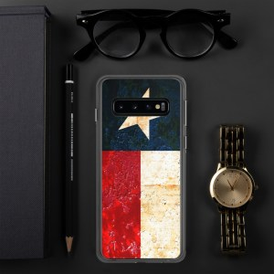 Samsung Galaxy S10 Case Texas flag on Rust Print