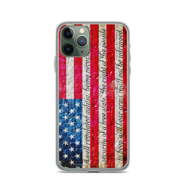 iPhone 11 Pro Case – American Flag & 2nd Amendment on Brick Wall Print