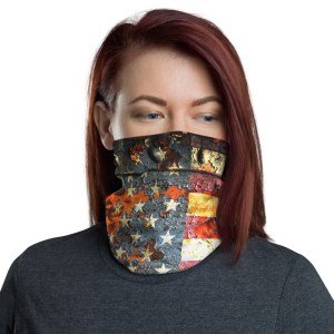 American Flag on Rust - Patriotic Face Mask and Neck Gaiter Side View
