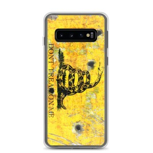 Samsung Galaxy S10 Case – Gadsden Flag on metal with bullet holes