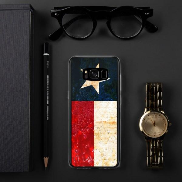 Samsung Galaxy S8 plus Case Texas flag on Rust Print