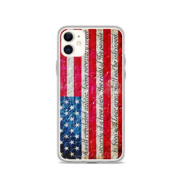 iPhone 11 Max Case – American Flag & 2nd Amendment on Brick Wall Print