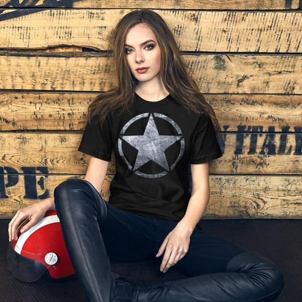 Short-Sleeve Unisex Black T-Shirt Army Star on Riveted Steel