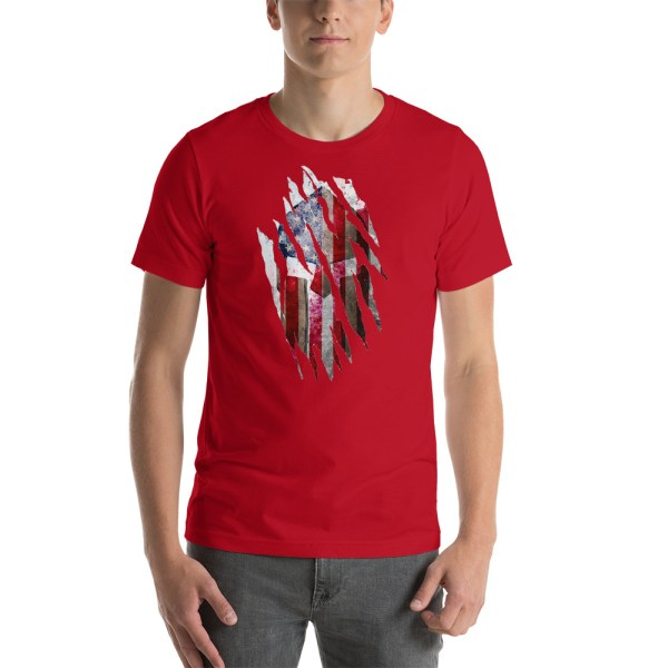 Short-Sleeve Unisex Red T-Shirt Torn Spartan Helmet on Distressed American Flag