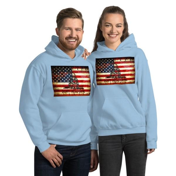 Unisex Blue Hoodie Don't Tread On Me – Gadsden & American Flag Composition
