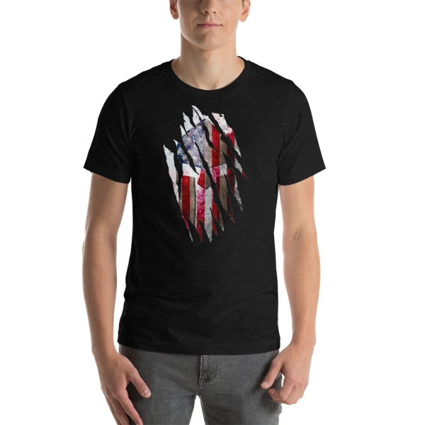 Short-Sleeve Unisex Black Heather T-Shirt Torn Spartan Helmet on Distressed American Flag