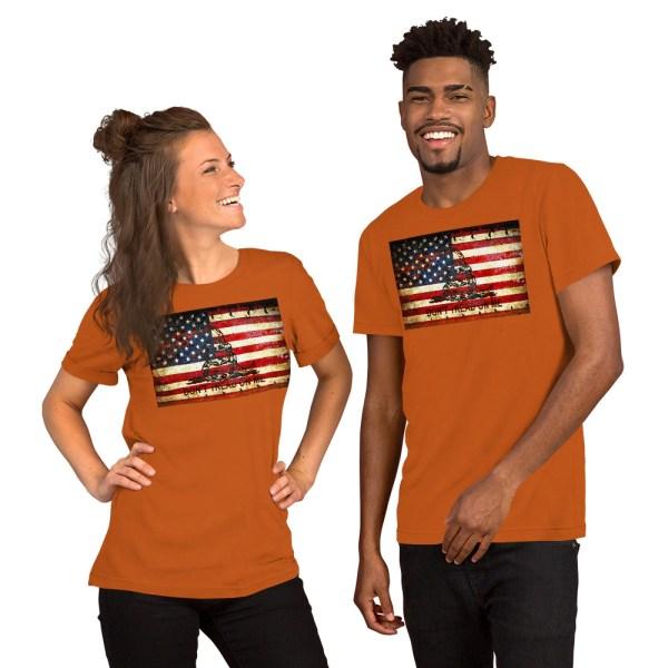 Orange Unisex T-shirt with Don't Tread On Me – Gadsden & American Flag Composition print