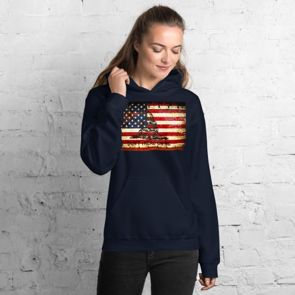 Unisex Navy Hoodie Gadsden & American Flag Composition