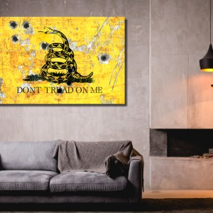 Gadsden Flag on Distressed Metal with Bullet Hole Stretched Canvas Hung in Loft - Don't tread on Me Art Print