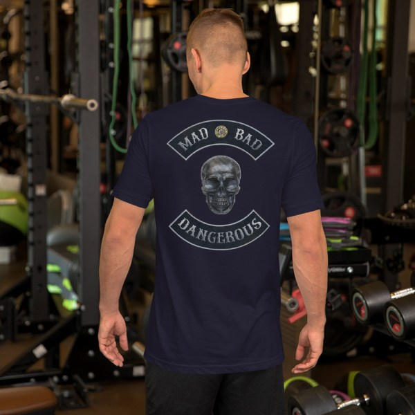 Mad, Bad and Dangerous Rockers with Skull Unisex Navy T-shirt Back
