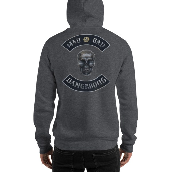 Heather Grey Unisex Hoodie Mad, Bad and Dangerous Rockers with Skull Back