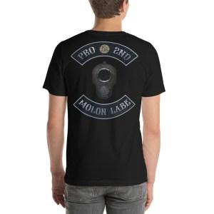 Pro 2nd Amendment Molon Labe with M1911 Muzzle Black Short-Seeve Unisex T-Shirt