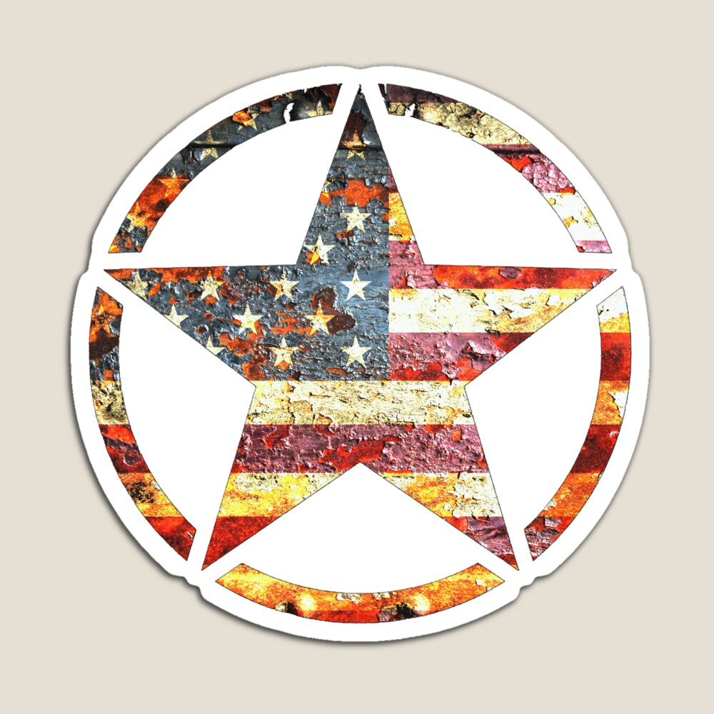 Circled Army Star on Distressed American Flag Magnet