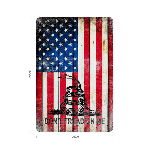 American and Gadsden Flag composition Vertical Metal Wall Sign Plaque - Made in the USA Print on Metal with dimension