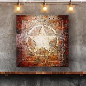 Army Star on Rusted Riveted Metal panel in Situ
