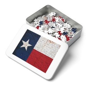 Flag Themed Puzzle -Texas Flag on Brick 252 or 500 Pieces Puzzle