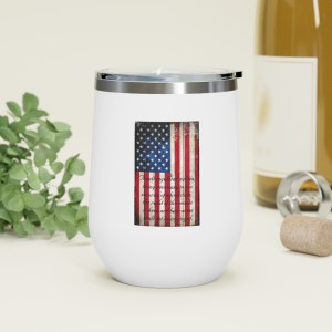 2nd Amendment and American Flag on Old Barn Wood Vertical Print on 12oz Insulated Wine Tumbler