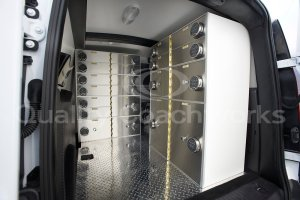 Our transport & delivery security lockers Installed in a vehicle.