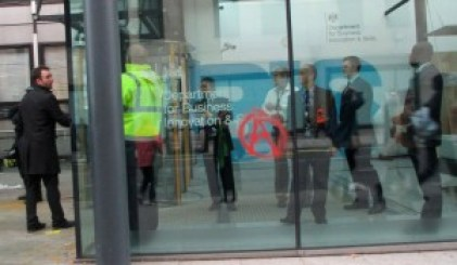 A statement of intent on the window of the Department of Business, Innovation and Skills. Photo: Jon Bigger