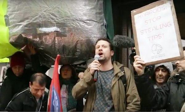 UVW treasurer Dan Stone speaking outside Harrods yesterday