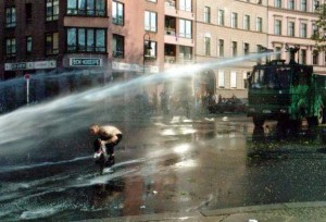 Wasserwerfer water cannon in action.